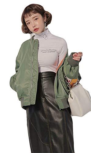 Donna Con Libero Cappotto Maniche Fashion Stlie College Autunno Ragazze Cerniera Pilot Tempo Stampate Bomber Grün Digitale Lunghe Grazioso Fidanzato Giacca pxdqW6qz