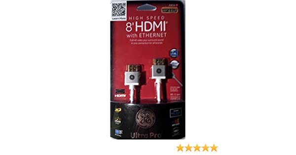 Amazon.com: GE 8 ft. High Speed HDMI Cable w/Ethernet - 24514: Electronics