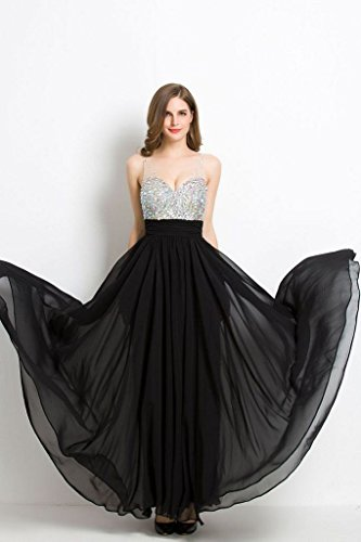 Ausschnitt formelle Kleidung Abendkleider Emily Abendkleider Chiffon Strass Weiß Frauen V Beauty Lange tzfqvw