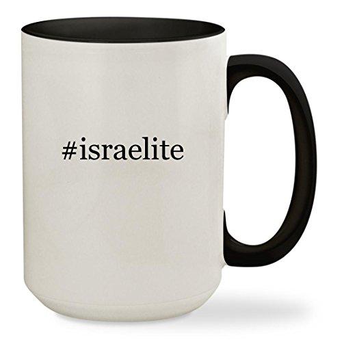 #israelite - 15oz Hashtag Colored Inside & Handle Sturdy Ceramic Coffee Cup Mug, Black (Israelite Costume)