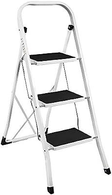 Home Vida - Escalera plegable portátil de 3 escalones, acero resistente, multicolor: Amazon.es: Bricolaje y herramientas