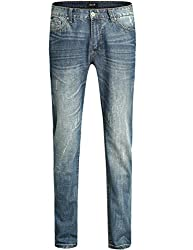 SSLR Men's Relaxed Straight Jeans (29, Blue)