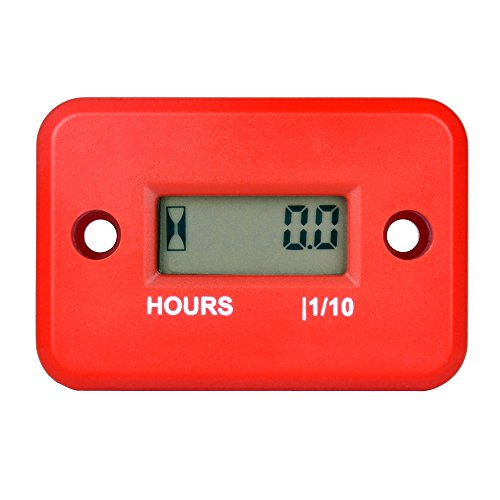 Runleader RL-HM006A Inductive Hour Meter for All Gasoline Engine ATV UTV Dirtbike Motobike Motocycle outboards Snowmobile pitbike PWC Marine Boat Waterproof (red)