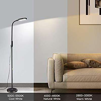 Floor Lamp, Miroco Adjustable LED Floor Light, Dimmable Reading Standing Lamp with 3 Color Temperatures & 5 Level Brightness, 1815 Lumens, Flexible Goosneck for Sewing Living Room Bedroom Office