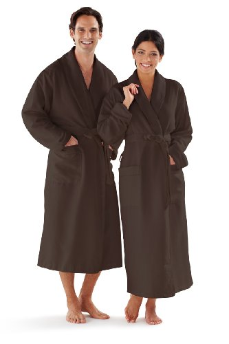 Boca Terry Women's and Men's Robe, Luxury Microfiber Chocolate Bathrobe, XXXXL