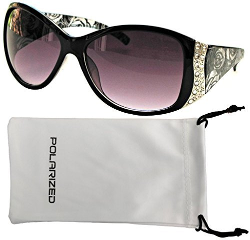 Vox Women's Polarized Sunglasses Designer Fashion Rhinestone Vintage Floral Eyewear – Black Frame - Smoke - Women Polarized Designer For Sunglasses