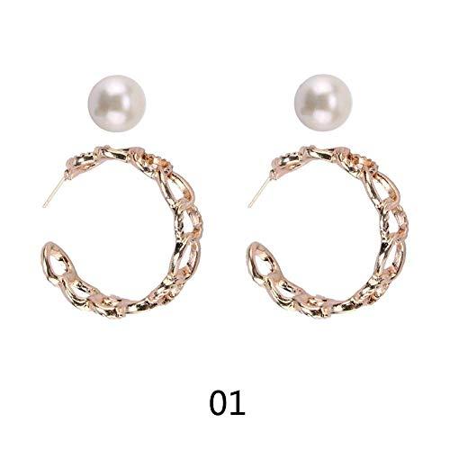 FANMURAN Pendientes metálicos de la Perla de los Pendientes Retros Circulares de la joyería para Las Mujeres 2pcs / Set