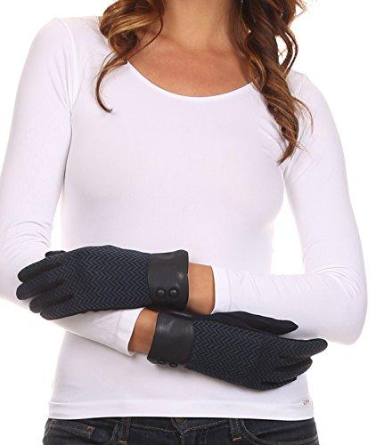 Sakkas CMZ1526 - Bronywn Warm Winter Wrist Length Chevron Pattern Touch Screen Gloves - Navy - M