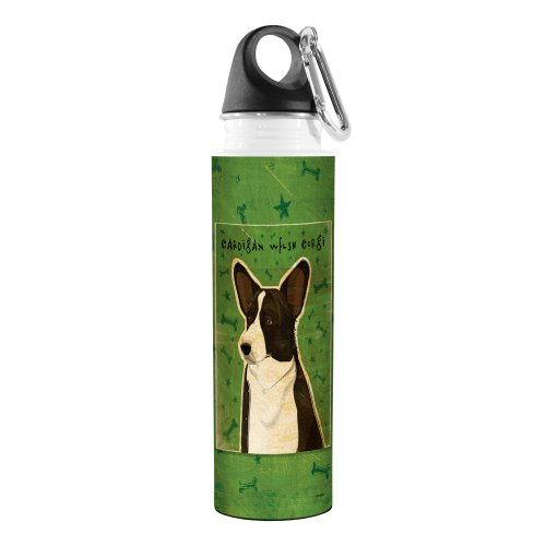 (Tree-Free Greetings VB48035 John W. Golden Artful Traveler Stainless Steel Water Bottle, 18-Ounce, Cardigan Welsh Corgi)