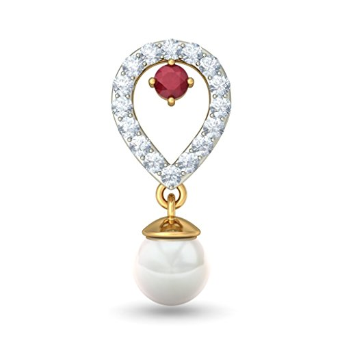 14K Or jaune 0,26CT TW White-diamond (IJ | SI) et rubis et blanc perle Boucles d'oreilles