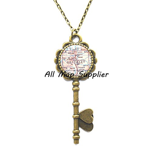 Charming Key Necklace,Colorado map Key Pendant, Colorado Key Necklace Colorado state map Key Pendant map jewelry map Key Necklace Rocky Mountains,AO157 (Jewelry Map Colorado)