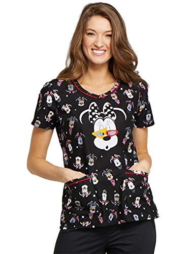 Cherokee Tooniforms Women's V-Neck Minnie Mouse Print Scrub Top Large Print