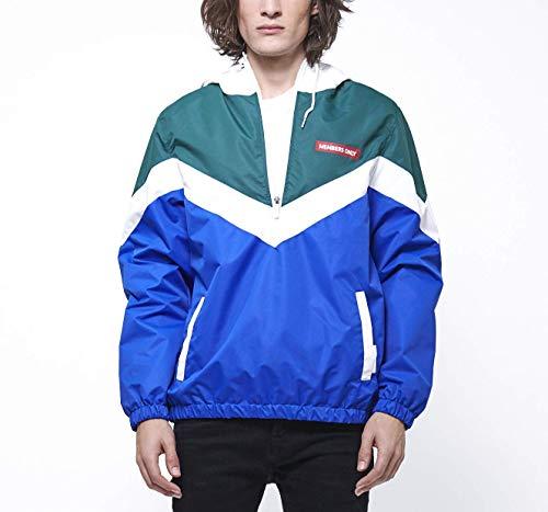 (Members Only Men's Colorblock Pullover Half-Zip Hooded Jacket, Royal, M)