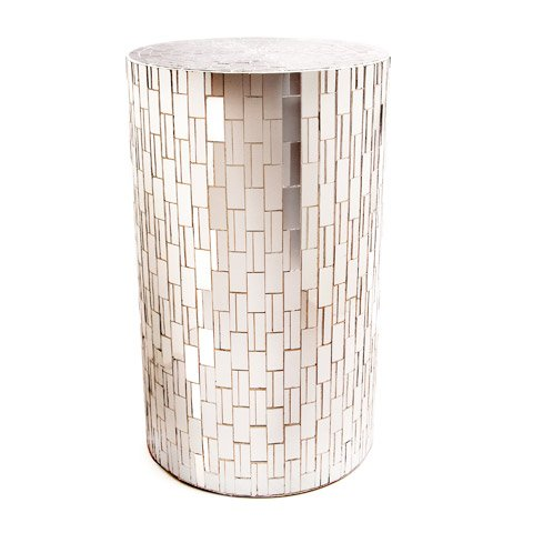 Column Accent Table (Glass Mosaic Column Pilar Pedestal Plant Stand (Display Table) - 12.4 x 12.4 x 28.35 inches)