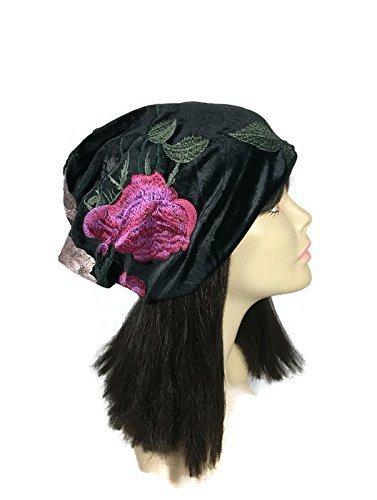 4f8e4a1e00a Amazon.com  Embroidered Black Velvet Slouchy Hat Black Velvet Slouchy  Beanie Embroidered Floral Hat Embroidered Velvet Hats CUSTOM SIZES  Handmade