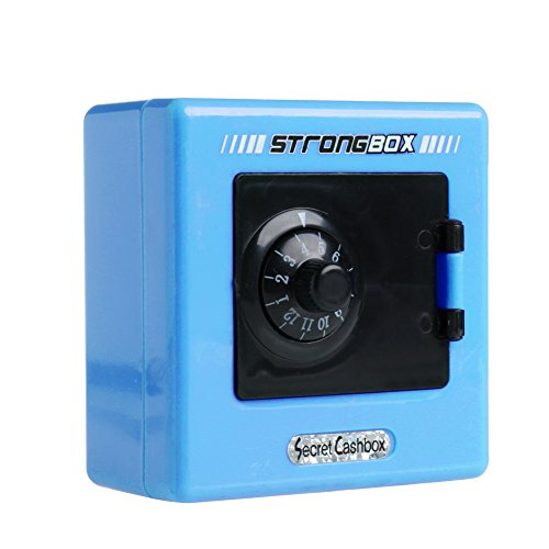 Mimgo Store Money Box Code Safe Coins Cash Square Saving Pot Piggy Bank Combination Lock (Blue)