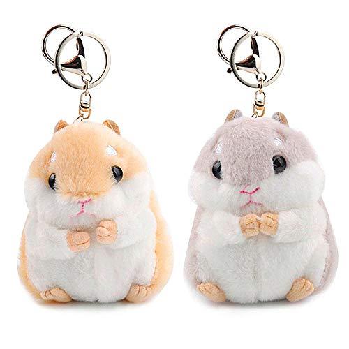 RAYNAG Set of 2 Cute Hamster Plush Keychain Stuffed Animals Keyring Charm Handbag Pendant
