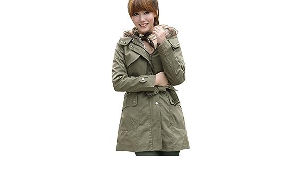 Fuxiang Parka Mujer Abrigo Dama Chaquetas Abrigos De Piel Sintetica Online Chaqueta Mujer Parka Militar Abrigos Y Chaquetones Mujer Ejercito Verde XXXL: ...
