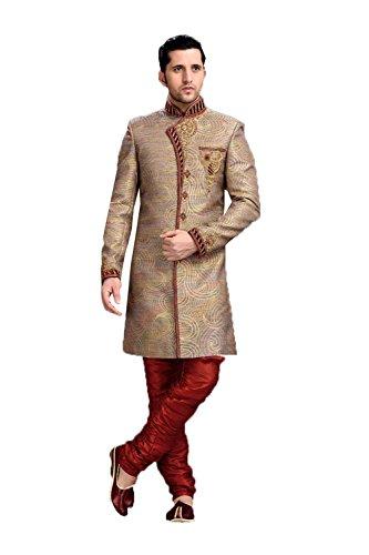 daindiashop-USA Exclusive Designer Sherwani for Men Stylish Royal Shaandar Dress Wedding Outfit in Brown Jacquard by daindiashop-USA
