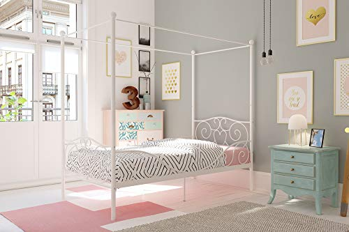 White Twin Canopy - DHP Canopy Bed with Sturdy Bed Frame, Metal, Twin Size - White