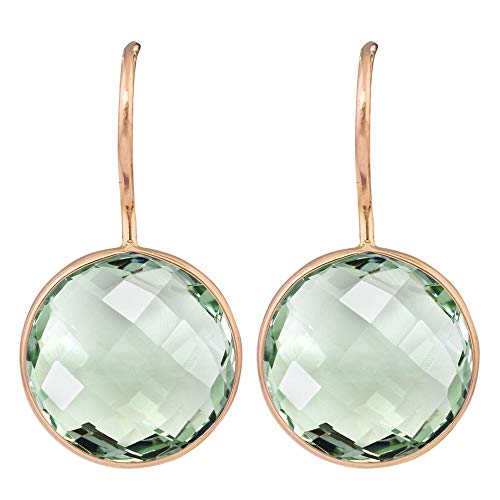 (Aurex 9.14 Carat Briolette Round Shape Natural Green Amethyst 14k Yellow Gold French Wire Hoop Earrings for Women and Girls)