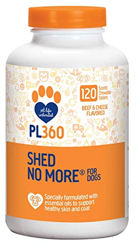 PL360 Shed No More Chewable Supplement for Dogs, 120 Count