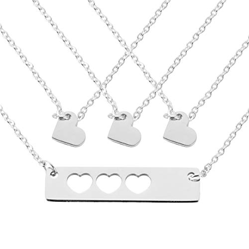 ST-Power Mother Daughter Heart Printed Horizontal Bar Heart Shaped Necklace with Skull Heart Mother and My Bar Necklace Set First Day Kindergarten Gift (4 ext) ()