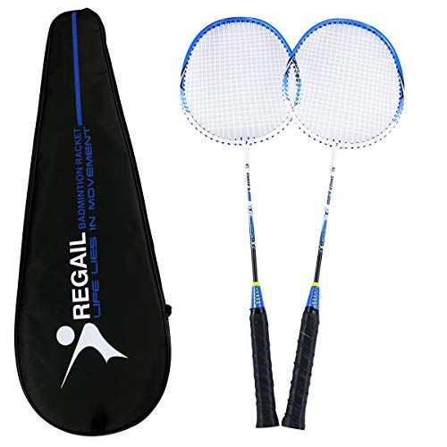 YJONS 2 Pack Trained Badminton Rackets, Sports Carbon Fiber Lightweight Badminton Racquet, for Professional & Beginner Players (red + Blue)