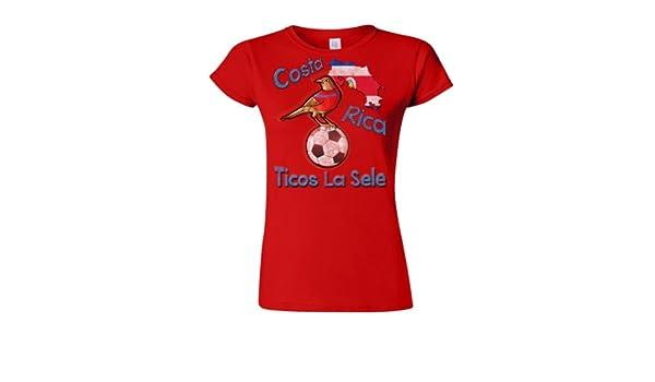 Costa Rica Football Mascot Ladies Camiseta Para Mujer World Cup T-Shirt: Amazon.es: Ropa y accesorios