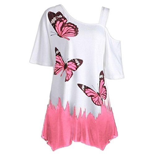 (Hot Sale! Women Blouse Daoroka Ladies Sexy Off Shoulder Butterfly Print Short Sleeve Cotton Loose Casual Cute Pullover Fashion Soft T Shirt Tops (M, Pink 3))