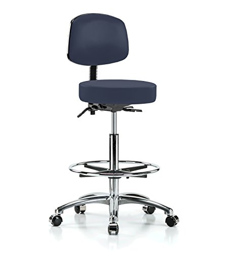 PERCH Chrome Walter Rolling Height Adjustable Doctor's Stool with Back and Footring for Carpet or Linoleum | Counter Height | 300-Pound Weight Capacity | 12 Year Warranty (Imperial Blue Vinyl) (Adjustable Stool Physician)