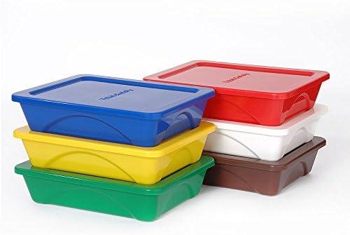 Fiambreras, 6 unidades, de un compartimento, se pueden apilar, para comida, con tapa, apta para lavavajillas y reutilizable, caja de almuerzo Bento, multicolor (Pack de 6, 2.4 l) -: Amazon.es: Hogar