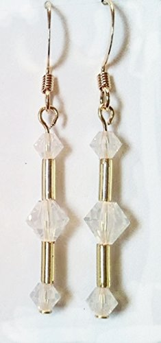 Triple Swarovski Earrings - Opal Triple Crystal Swarovski & Gold Color Bugle Bead Earrings