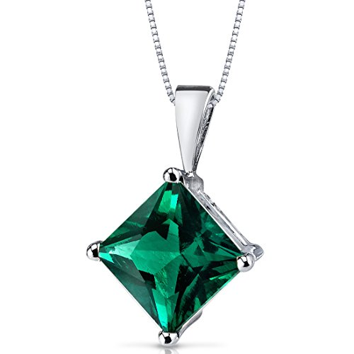 14 Karat White Gold Princess Cut 2.25 Carats Created Emerald Pendant