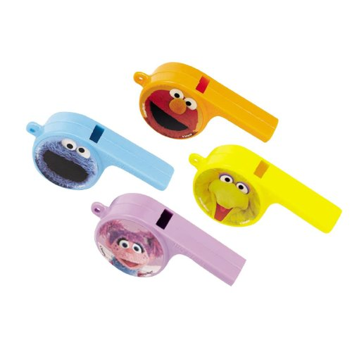 Pack of 12, Colorful Sesame Street Party Favor Whistles