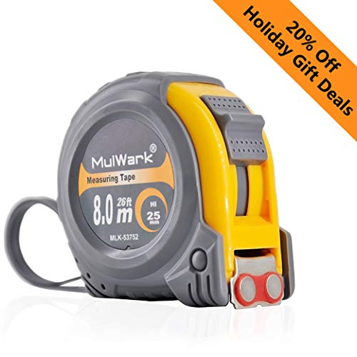 MulWark 26ft Measuring Tape Measure by Imperial Inch Metric Scale with Both-side Metal Blade,Magnetic Tip Hook and Shock Absorbent Case-for Construction,Contractor,Carpenter,Architect,Woodworking (Machinist Tape Measure)