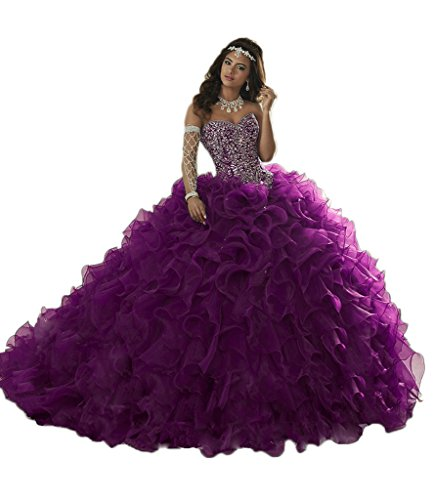 DKBridal Women's Beaded Organza Long Prom Gown Quinceanera Dresses Purple 18