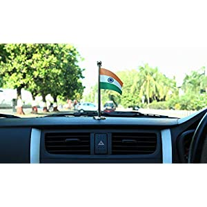 "The Flag Shop Indian Car Dashboard 2"" x 3"" Flag with a Stainless Steel Liquid Chrome Base"