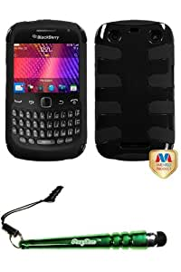FoxyCase(TM) FREE stylus AND BLACKBERRY 9360 (Curve) Natural Black Fishbone Phone Protector Cover cas couverture
