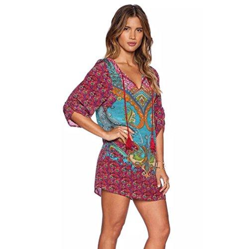 Robe Femmes, FeiTong® Femmes Bohemian Cravate vintage imprimé style ethnique Shift Summer Dress