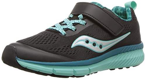 Saucony Girls' Ideal a/C Running Shoe, Black/Turquoise, 13.5 Medium US Little Kid