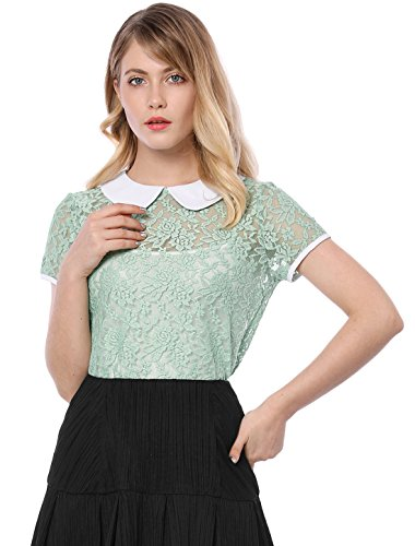 Collared Blouse (Allegra K Women's See Through Contrast Peter Pan Collar Lace Top L Green)