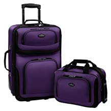Travelers Choice US Traveler Rio Expandable Carry-On Luggage Set, One Size, 2-Piece (Purple)