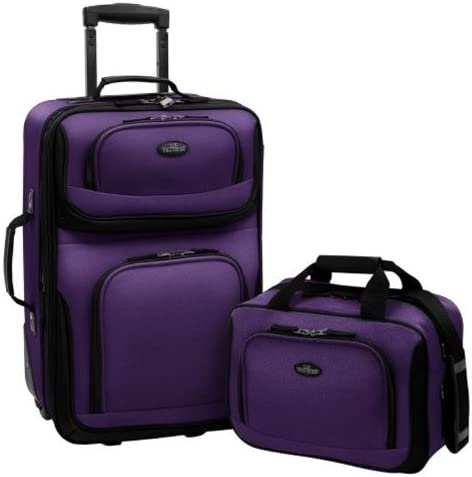 U.S. Traveler Rio Rugged Fabric Expandable Carry-On Luggage Set, Purple, 2-Piece