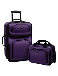 Travelers Choice US Traveler Rio Expandable Carry-On Luggage Set, One Size, 2-Piece (Purple)