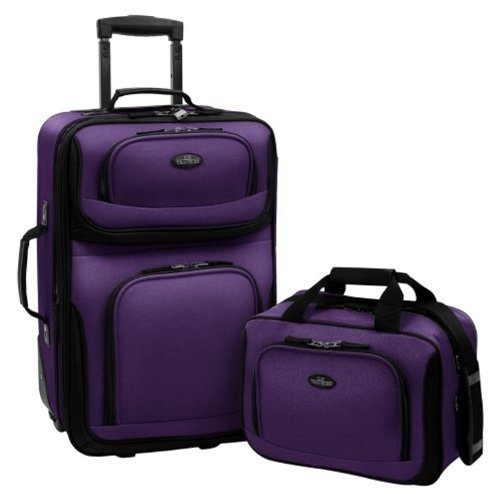 U.S Traveler Rio carry-on lightweight expandable rolling luggage suitcase set - Purple (15-Inch and 21-Inch) (Rolling Luggage Expandable)