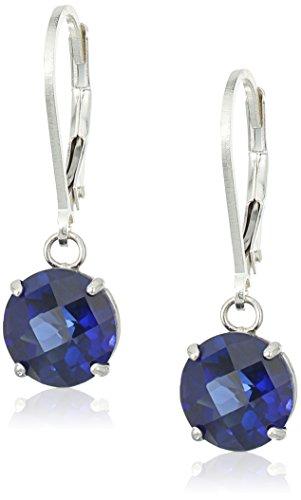 Sterling Silver Round Checkerboard Cut Created Blue Sapphire Leverback Earrings (8mm) (Sapphire Cut Dangling Earrings)