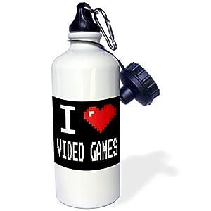 3dRose wb_118950_1 Geeky Old School Pixelated Pixels 8-Bit I Heart I Love Video Games Sports Water Bottle, 21 oz, White