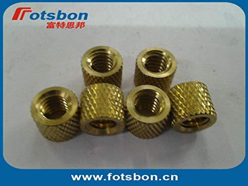 Ochoos STKB-832-4 Thru-Threaded Molded-in Insert Kunrled Brass,Nature,PEM standrad,