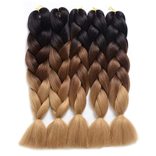 DingDian Braiding Hair Ombre Kanekalon Jumbo Braids Synthetic Braiding Hair 5Pcs/Lot Hair Extension for Twist Braiding Hair (24